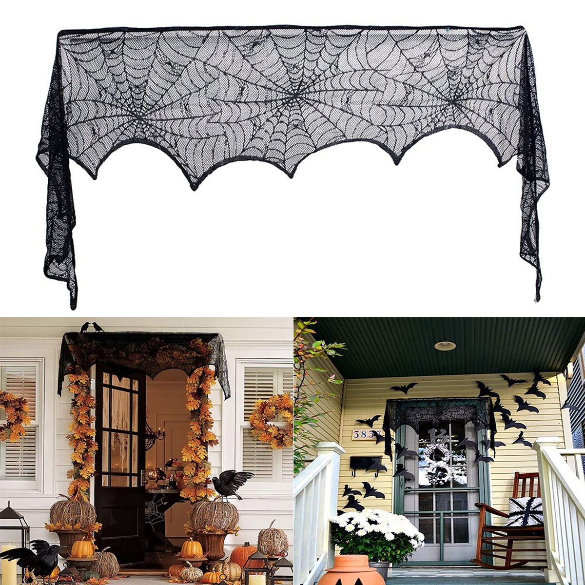 Halloween Decoration Black Lace Spiderweb Fireplace Mantle Scarf Table Cloth Halloween Horror Props Party Favor Supplies 18 X 96