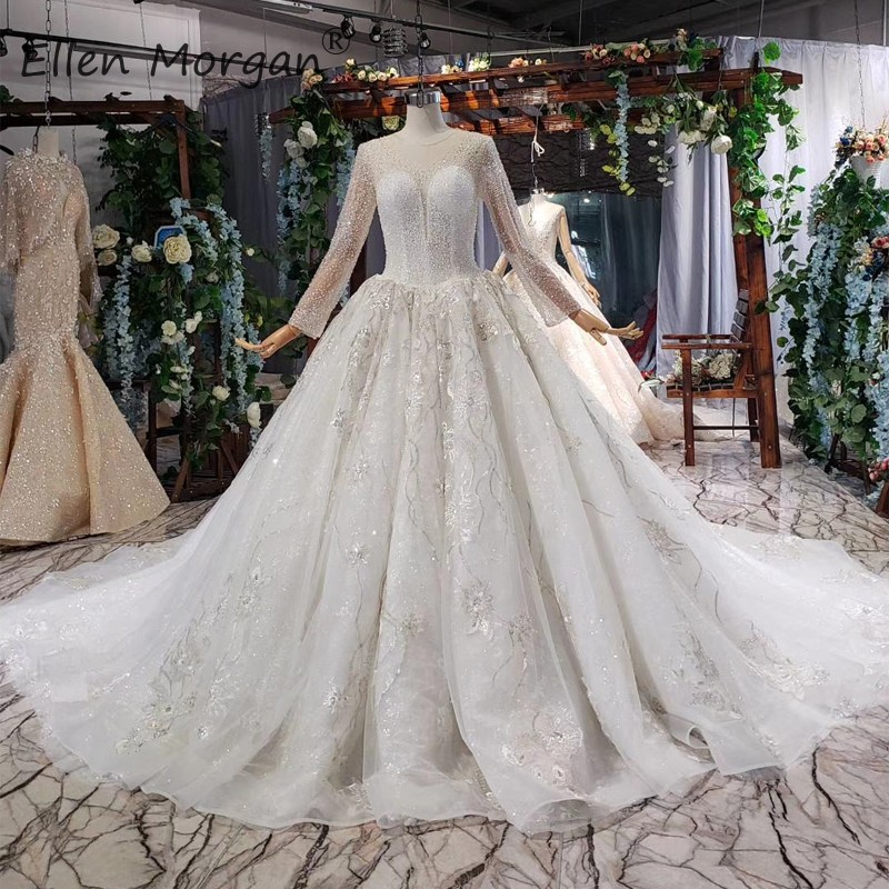 Middle East Lace Wedding Dresses Long Sleeves Beads Illusion Backless Court Train Formal Bridal Ball Gowns Vestido De Novia 2019