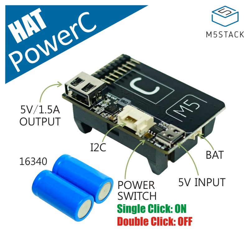 M5Stack Official PowerC HAT Design For M5StickC With IP3005 And IP5209 Mobile Power Bank Battery Charger