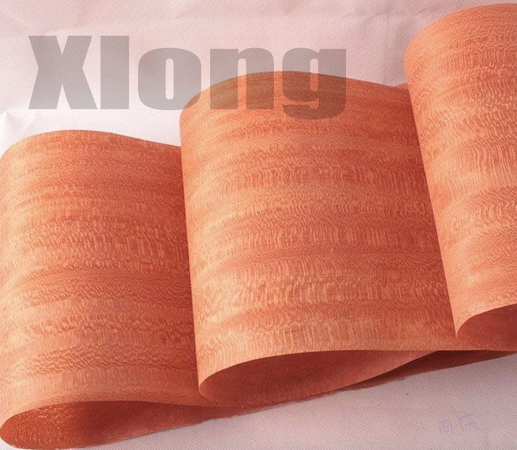 2Pieces/Lot L: 2.5 Meters Thickness:0.2mm Width: 15cm Red Natural Veneer Handmade Leather Solid Wood Veneer