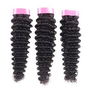 Image 4 - Karizma Deep Wave Bundles With Closure Non Remy Human Hair 3 Bundle Lace Closure Deals Peruvian Hair Weave Bundles With Closure
