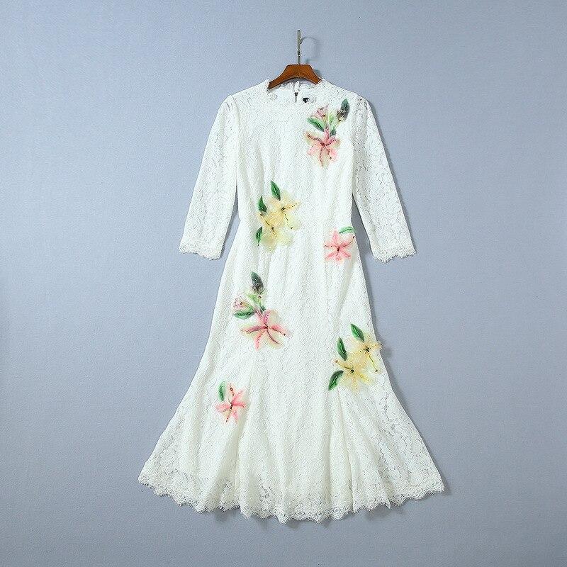 Осень 2019 Новая Европейская и американская женская одежда рубашка с рукавом в 7 цветах, наклейте ткань с цветочным узором модное кружевное платье с юбкой годе