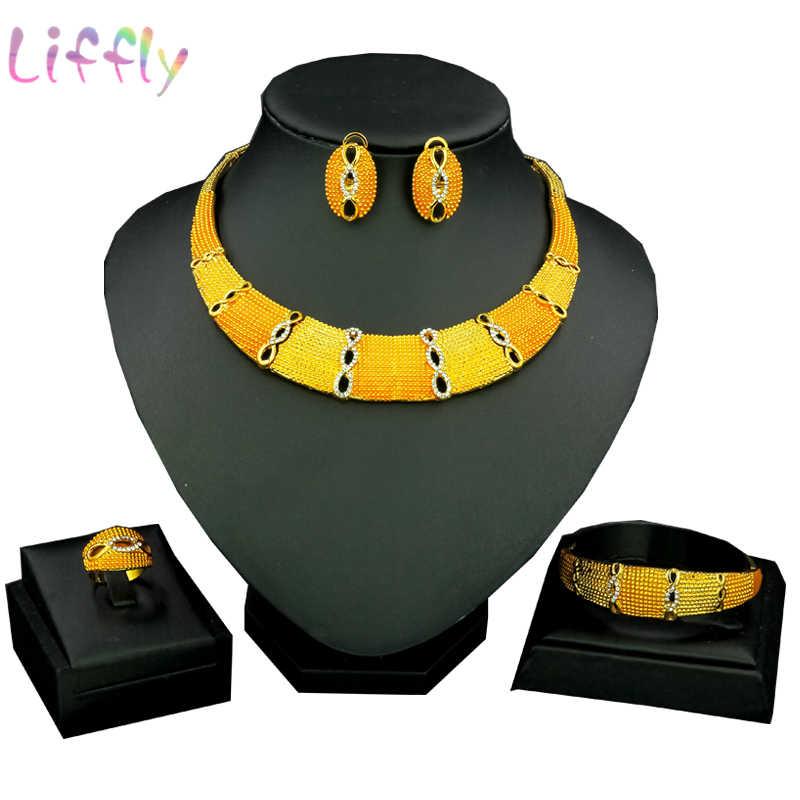 Luxus Afrikanischen Schmuck Sets 24 Gold Geometrische Halskette Set Gelb & Licht Goldene Art Nigerian Äthiopischen Schmuck für Frauen