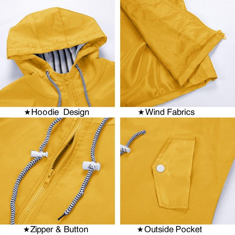 Heflashor Women Jacket Winter Rain Zipper Windproof Long 2019 Plus Size Ladies Coat For Women Raincoat Jacket Coat Autumn Winter 3