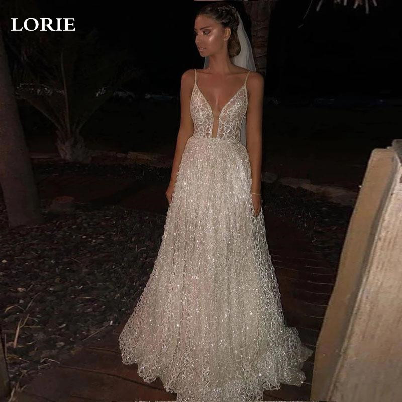 LORIE A Line Princess Wedding Dresses Sexy Spaghetti Strap Glitter Tulle Bridal Gowns Vestidos De Novia Custom Made