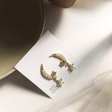 New Fashion Jewelry Romantic Pearl Earring Golden Plated Moon Star Earrings For Women Gift