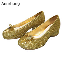 Bling Gold Silver Shallow Shoes Woman Split Toe Pumps Novelty Roll Knot Decor Heels Cozy Round Toe Casual Shoes Woman Glitter
