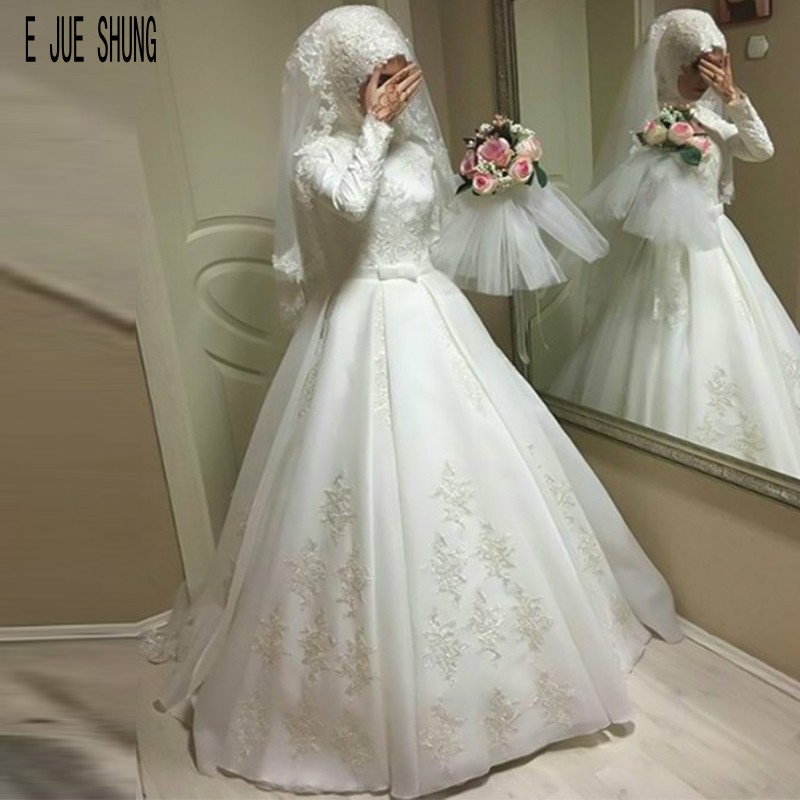 E JUE SHUNG Muslim Wedding Dresses Simple Stain High Neck  Long Sleeve Lace Up Lace Appliques Bow Sash Bridal Gowns Robe Mariage