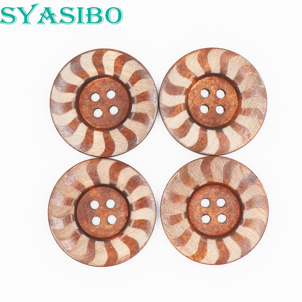 """50PCs Wood Buttons Sewing Snowflake Carved 4 Holes Brown 25mm Dia. 1/"""""""