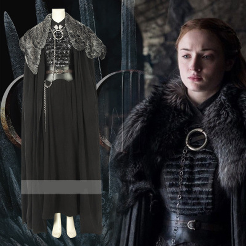 Sansa Stark cosplay Dress Cloak Outfit Fancy suit Custom made Halloween Game of Thrones Season 8 Cosplay Costume full set image