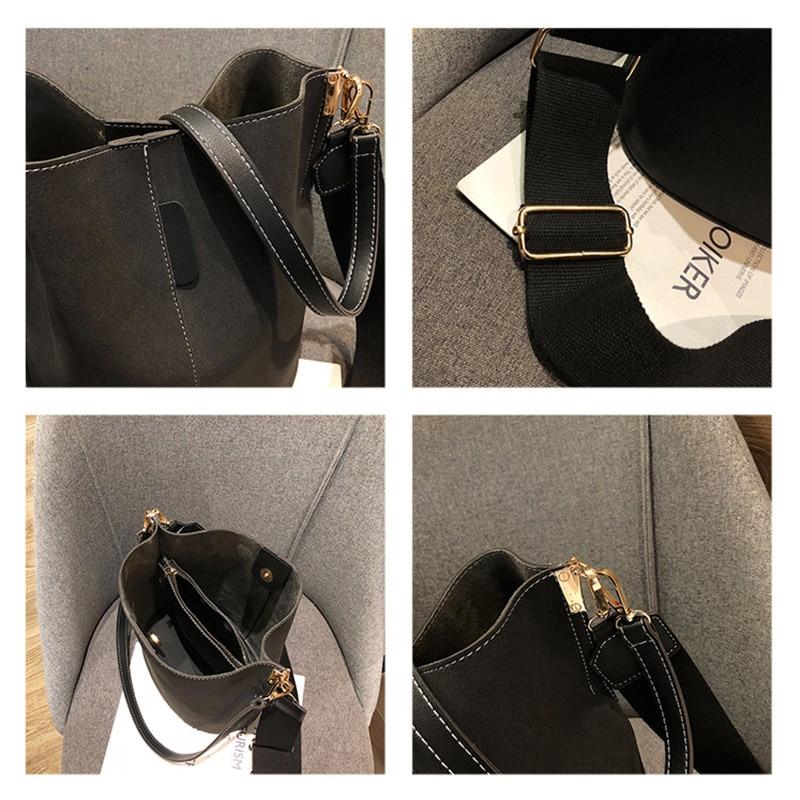 Women's bucket shoulder bag, large capacity, vintage, matte, faux leather, women's tote bag,handbags, black for women 6