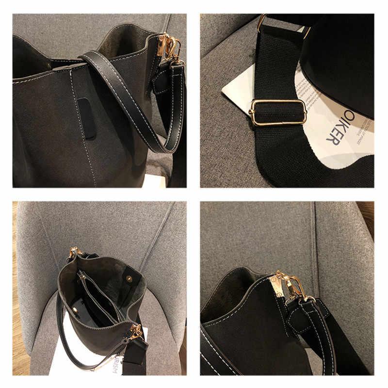 Askılı çanta kadın kova omuzdan askili çanta büyük kapasiteli vintage mat PU kadın deri el çantası lüks tasarımcı bolsos mujer siyah