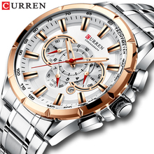 CURREN Sport Watches Men's Luxury Brand Quartz Clock Stainless Steel Chronograph
