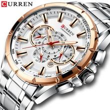 Часы наручные CURREN Мужские кварцевые, спортивные брендовые Роскошные с хронографом из нержавеющей стали и большим циферблатом, с датой