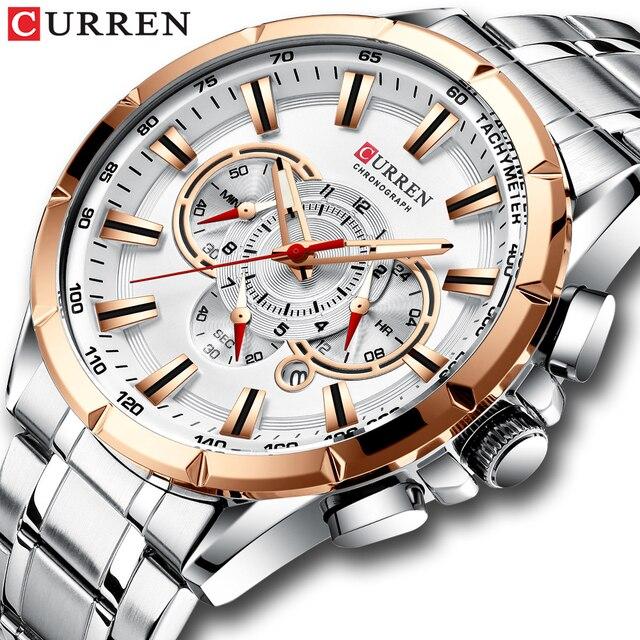 CURREN ספורט שעונים גברים של יוקרה מותג קוורץ שעון נירוסטה הכרונוגרף גדול חיוג שעוני יד עם תאריך Relogio Masculino