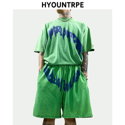 2 Pieces Sets Mens Fashion Vintage Washed Short Sleeve Loose T Shirt and Elastic Waist Sweatpant Harajuku Clothing Hip Hop Set