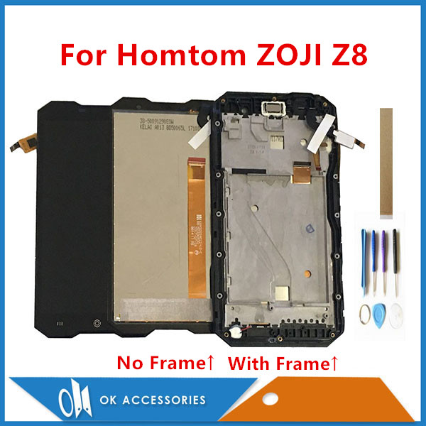 With Frame Original Quality 5.0 Inch For Homtom ZOJI Z8 LCD Display With Touch Screen Glass Digitizer Assembly With Tools Tape