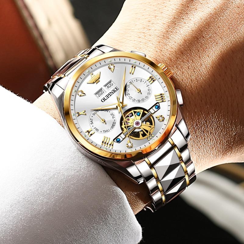 2020 Luxury Men Mechanical Wristwatch Tungsten Steel Tourbillon Watch Sapphire Glass Men Watches reloj hombre OUPINKE Brand 4