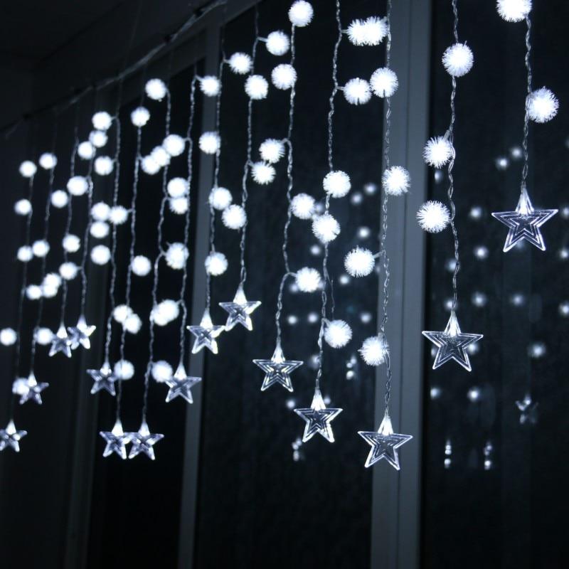 3.5m Curtain Light String Christmas Fairy Wedding Party String Lights Window Decoration EU/US Plug Star Dandelion Garland Light