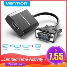 Vention Adaptador convertidor de VGA a HDMI, 1080P, macho a hembra con Audio, VGA, HDMI, analógico, Digital, adaptador para portátil, HDTV, proyector, HDMI, VGA