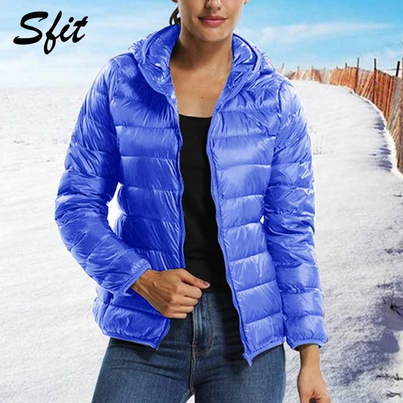 Sfit Winter Women Hooded Jacket  Parkas 2019 New Fashion Casual Autumn Female Candy-colored Coat Long Sleeve Casual Outerwear