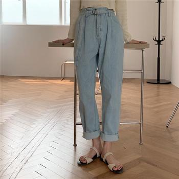 HED  Summer Chic Sashes Belted Loose Denim Jeans Women High Waist Wide Leg Jeans Pants Capris Femme Casual Female Jeans 2020 jeans rushed promotion cotton sashes plaid capris loose low 2014 spring and summer taste the random of color waist denim female
