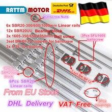 EU free VAT 3 ballscrew SFU1605-350/650/1050+3BK/BF12+3sets SBR20 Linear Guide rails+3 couplers for CNC Router Milling Machine