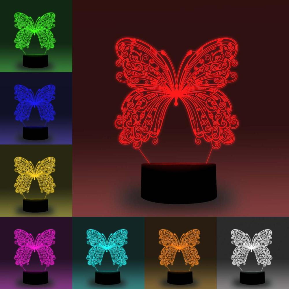 NiteApps 3D Pretty Butterfly Night Light Desk Table Illusion Decoration Lamp Holiday Birthday Gift APP/Touch Control