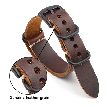 Onthelevel Genuine Leather Nato Zulu Strap 18mm 20mm 22mm 24mm Replacement Watchband Watch Accessories Wristband #D nato strap suede leather zulu watch band strap blue black soft watchband stainless steel square buckle 18mm 20mm 22mm 24mm