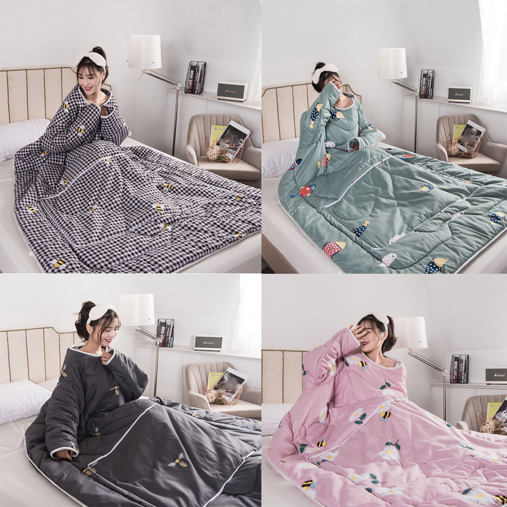 Multifunction Winter Lazy Quilt With Sleeves Warm Thickened Washed Pillow Blanke Christmas Halloween Decorations Home Navidad