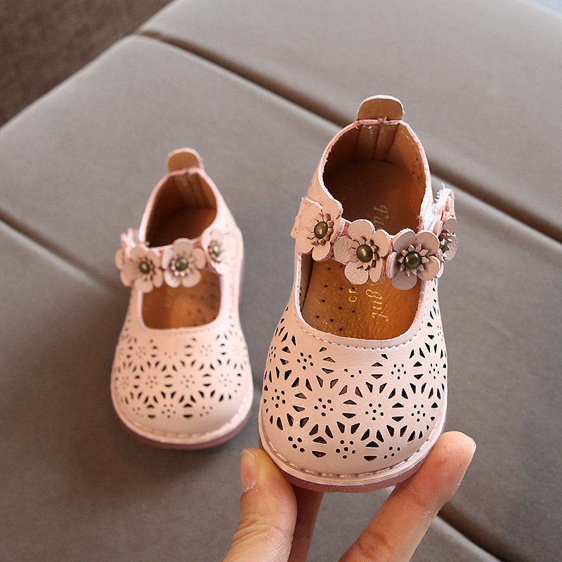Spring Baby Girls Shoes 2020 New Children Princess Flower Casual Leather Kids Shoes White Pink Breathable Non-slip B876