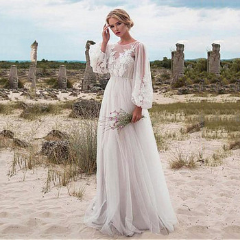 Boho Wedding Dress Lace Applique Sexy Backless Sleeves A Line Wedding Gowns Bridal Dress Custom Made robe de mariee boho wedding dress 2020 a line lace applique sexy backless bridal dress beach wedding gown plus size custom made