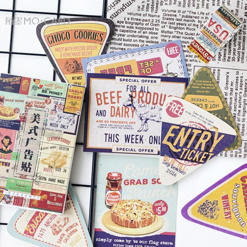30pcs/pack Retro Creative American Advertising Stickers Boxed Message Postcard Material Escolar Decoracion Aesthetic