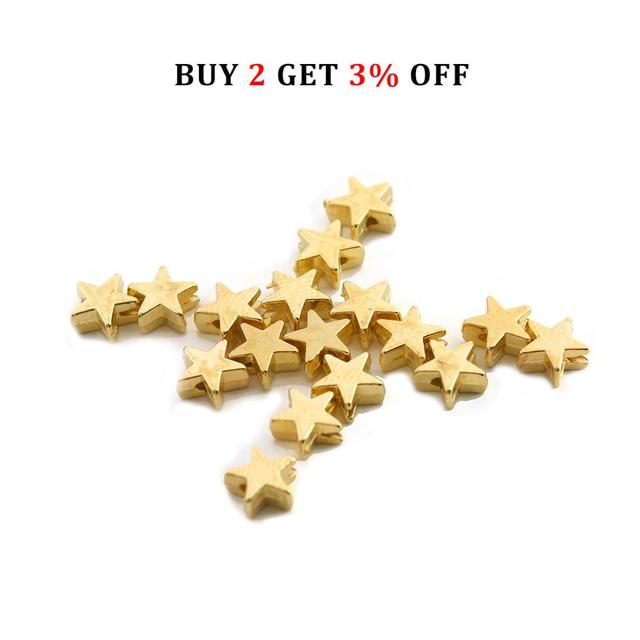 200pcs/lot 6*6mm Inside Hole 1mm CCB Gold Silver Color Star Spacer Beads End Caps Beads DIY Jewelry Making Findings Charm Beads 2