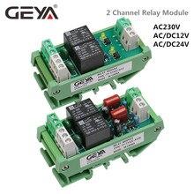 цена на GEYA 2 Channel Relay Module AC/DC 12V 24V AC230V Electromagnetic Relay General Purpose AC220v Relay Module