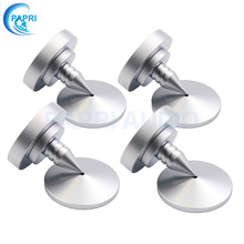 PAPRI 4PCS 35*37MM Pure Brass High Quality Speaker Amplifier CD Player Spike Feet With DISC Silver Plated Feey Bass