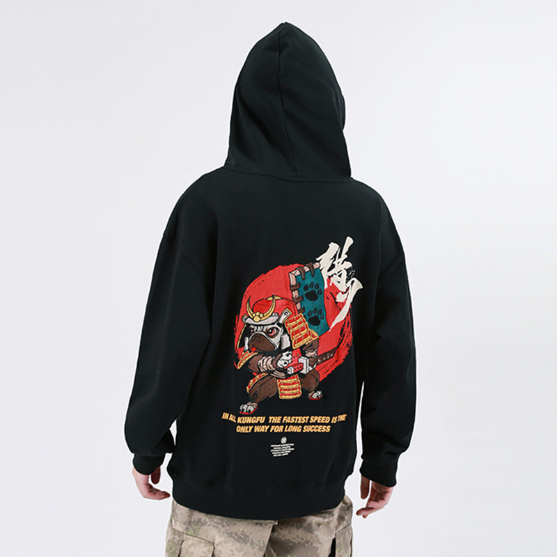 Image 5 - Men Hip Hop Hoodie Sweatshirt Embroidered Dog Samurai Streetwear 