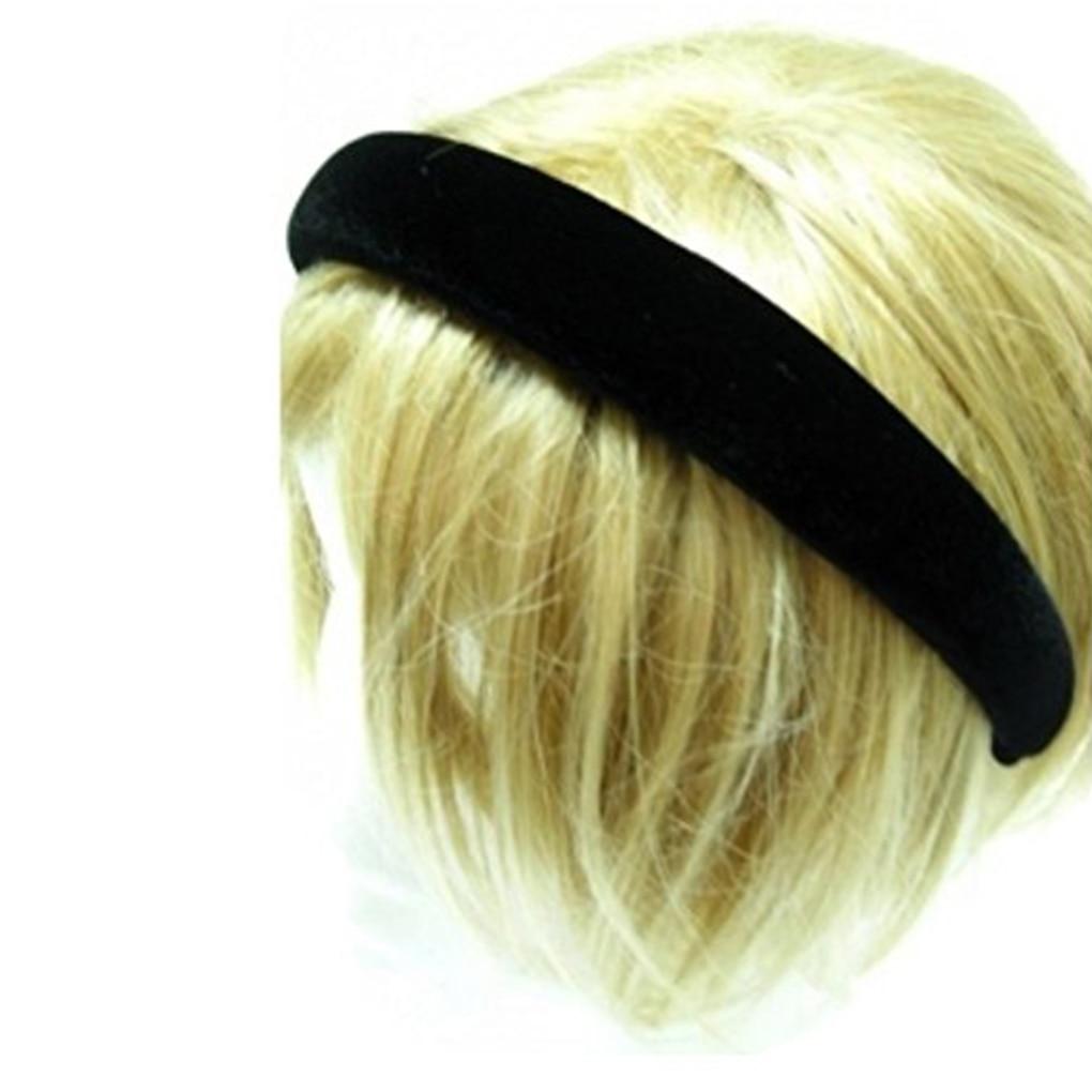 Black Grace Padded Velvet Hair Band Like Headband Solid Hair Band For Women And Girls   Headwear