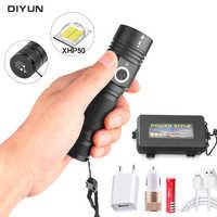 60000LM potężne latarka Led XHP50 latarka USB do ładowania zoom Led latarka latarnia 1*18650 baterii dla Camping jazda na rowerze lampa