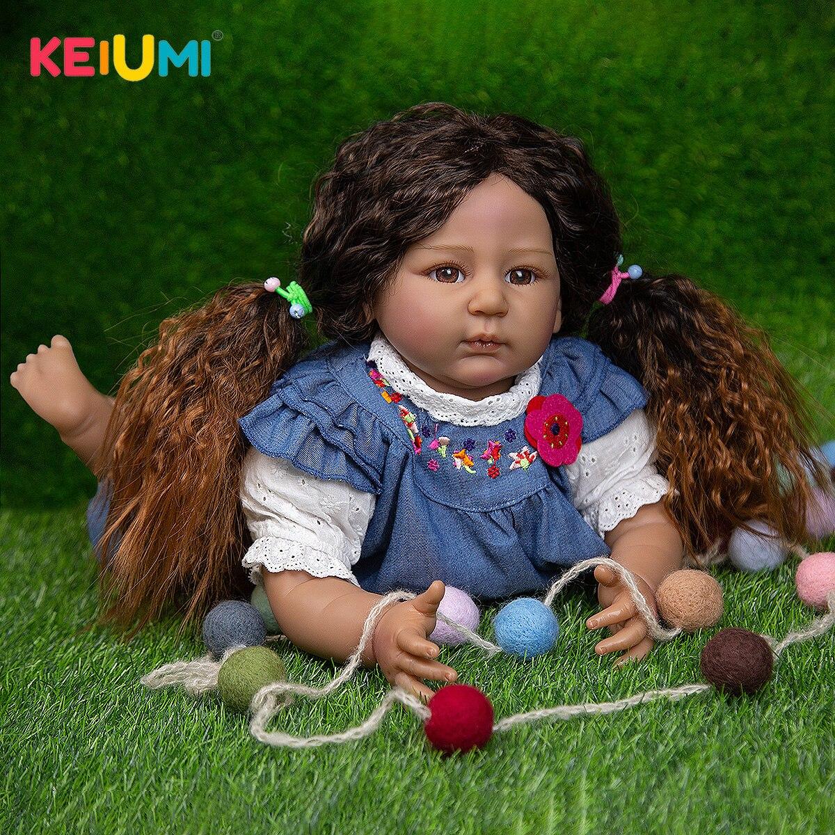 Realistische Reborn Baby Mädchen Kleinkind Puppen Schwarz Haut 55 CM Tuch Körper Silikon Babys Puppen Spielzeug Für Kinder Geburtstag Geschenke