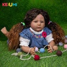 Poupées réalistes à peau noire pour bébé fille, 55 CM, corps en tissu en Silicone, jouets pour enfants, cadeaux d'anniversaire