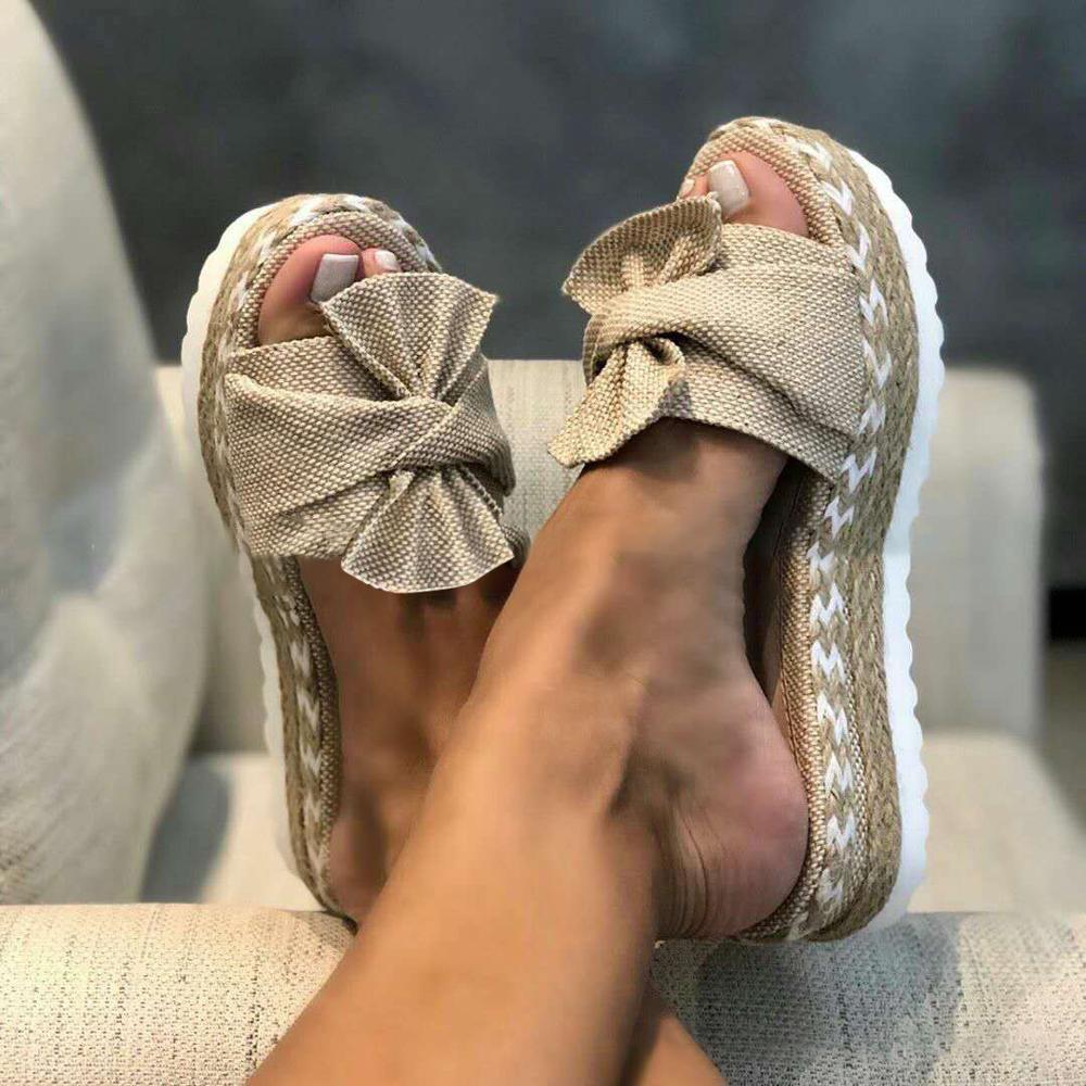 2020 Summer Fashion Sandals Shoes Women Bow Summer Sandals Slipper Indoor Outdoor Flip-flops Beach Shoes Female Slippers