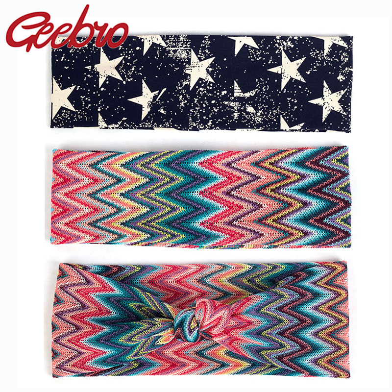 Geebro Women Fashion Bohemia Hairband Female Flat Headband Elastic Colorful Print Elastic Bands Headwear Turban Hair Accessories