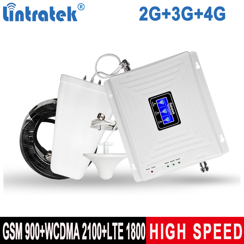 Lintratek Tri-Band 2G 3G 4G Signal Booster GSM 900 Repeater 4G 1800 3G 2100MHz Ampli Cellphone Signal Amplifier GSM UMTS LTE