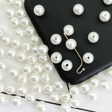 100pcs ABS Perforation Faux Pearl DIY Crafts Faux Pearl Jewelry Accessories Handmade Beaded Dress Making Supplies faux pearl espadrille flatform sliders