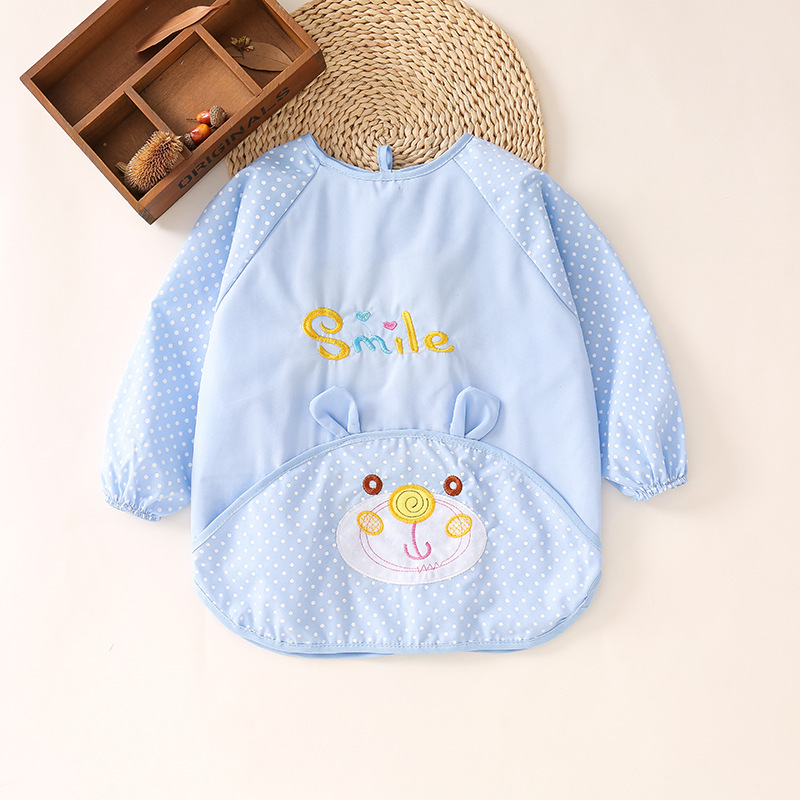 Washed Cotton Children Baby Overclothes Infant Bib Eating Waterproof Long Sleeve Pinny Long Sleeve Protective Clothing Apron 151