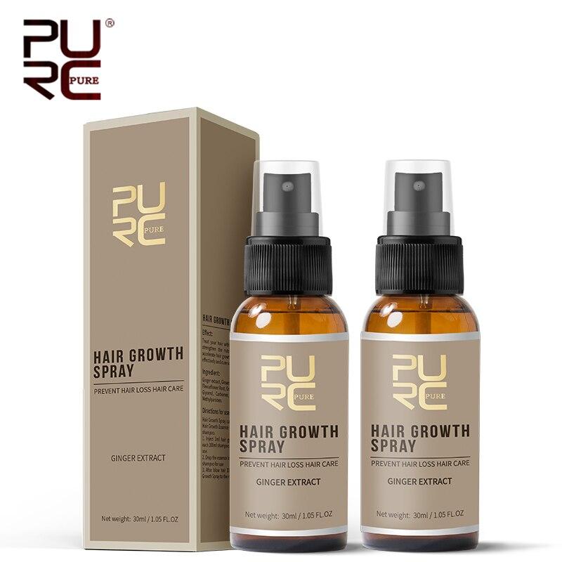 PURC gran oferta de 2 unidades de 30ml de tratamiento para el cuidado del cabello, Spray para el crecimiento del cabello, extracto de jengibre, evita la caída del cabello, ayuda al crecimiento del cabello|Productos anticaída del cabello| - AliExpress