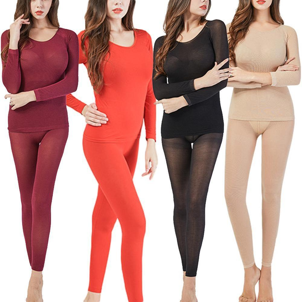 Women Winter Seamless Thermal Inner Wear Set 37 Degree Ultra-thin Constant Temperature Heating Thermal Underwear Set