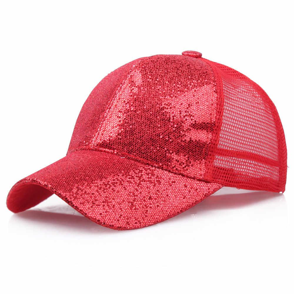 2019 หมวกสำหรับวิ่ง Unisex ผ้าฝ้ายกลางแจ้งผู้หญิงสาวผมหางม้าเบสบอลหมวก Sequins Messy Bun Snapback หมวก Sun หมวก
