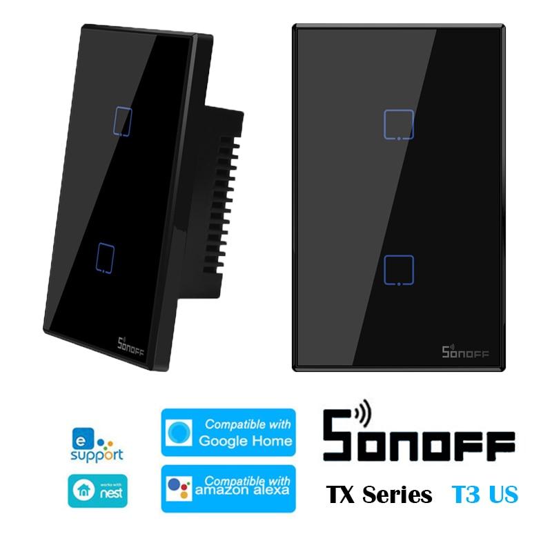 Interruptor de Casa Divididas em Swtich Compatível com Ewelink Casa do Google Sonoff Tx-series Wifi Inteligente 1 – 2 3c-tx Gangues Alexa t3 Eua 433